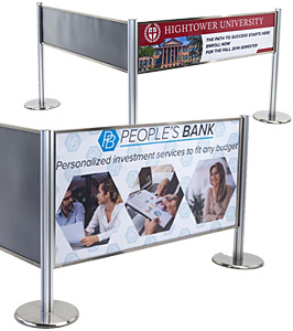 Add custom printed graphics to post and panel crowd control systems for a high impact marketing campaign