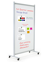 Dry erase rolling room divider with lacquered finish to prevent ghosting and staining