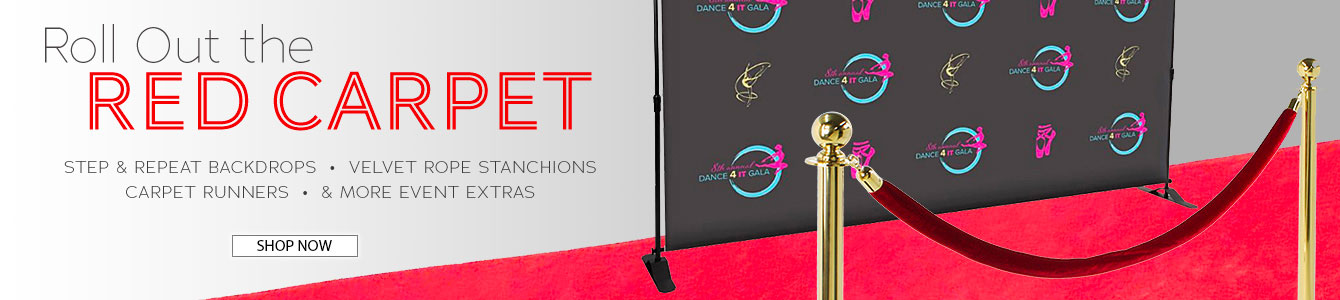 Shop for rolled red carpet runners, high-quality stanchions, and custom-printed step & repeat press walls!