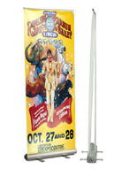 This retractable banner features an easy to use pull up design.