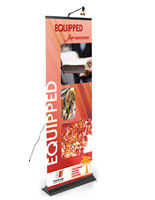This retractable banner is highly portable and commonly used at trade shows.
