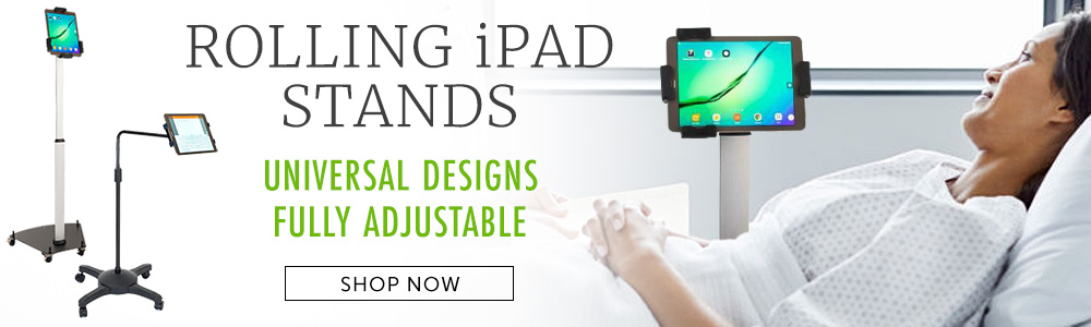 Rolling iPad stands for hospitals, clinics, and offices