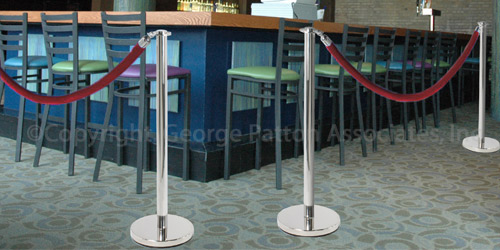 Polish Chrome Stanchion & Rope Set