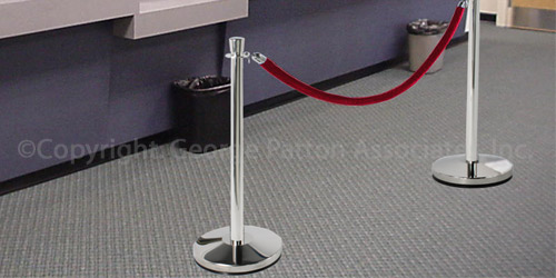 Chrome Stanchion with Red Velvet Rope