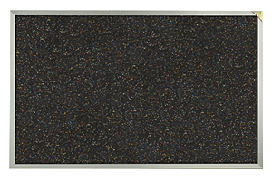 Bulletin board with black rubber tack surface