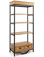French industrial bookshelf etagere with 4 shelves and black metal accents