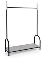 Vintage style garment display rail has a shelf capacity of 100 pounds