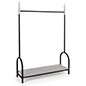 Vintage style garment display rail has a shelf clearance of 56 inches