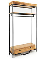 Industrial rustic clothes rack features a natural oak finish and decorative faux drawer