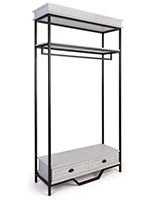 Farmhouse industrial clothing rack has a shelf clearance of 53.75 inches