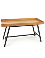 Merchandise dump table with natural oak finish and black metal legs