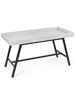 Store dump table features white MDF material