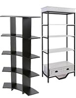 Etageres-style floorstanding shelf units for spas and salons