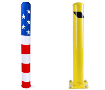 Steel bollards and accessories for vehicle safety