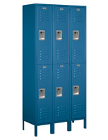 Double Tier Shop Locker with Interior Hooks