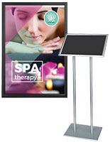 Wall and floor-standing poster displays for spas and salons