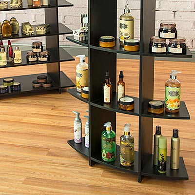 Retail shelf units inside a beauty salon