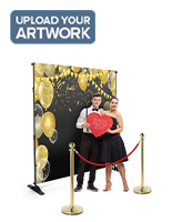 Red rope stanchion event backdrop with custom media wall