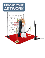 Step and repeat selfie station with red carpet and custom printed vinyl banner