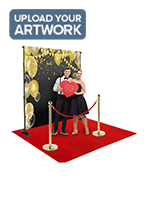 Step and repeat red carpet kit with customizable vinyl backdrop banner