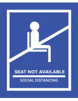 Blue removable social distancing seat markers