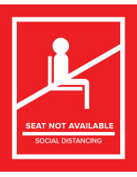 Red removable social distancing seat markers