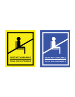 English/Spanish social distancing seat sticker with self-adhesive backing