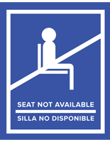 Blue English/Spanish social distancing seat sticker with non-skid removable vinyl