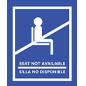Blue English/Spanish social distancing seat sticker with loc-tac material