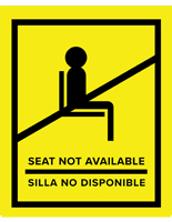 Yellow English/Spanish social distancing seat sticker with non-skid removable vinyl