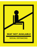 Yellow removable social distancing seat markers