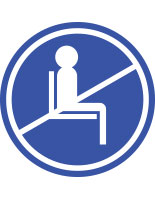 Blue do not use seating sticker with pre-printed graphic for crowd control