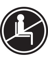 Black do not use seating sticker with pre-printed graphic for crowd control