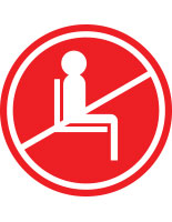 Red do not use seating sticker with pre-printed graphic for crowd control