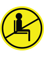 Yellow do not use seating sticker with pre-printed graphic for crowd control