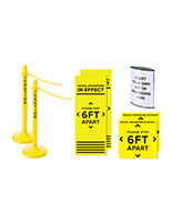 Social distance stanchion bundle with bright yellow messaging