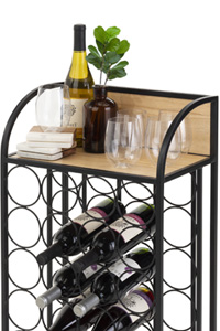 Rolling serving cart with wine rack