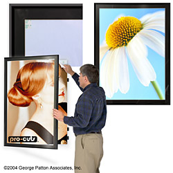 "30"" x 40"" poster hanger in satin black frame with black matboard, Powerpoint templates"