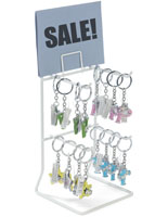White Keychain Display Rack, Steel Wire