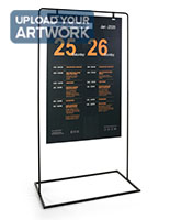 Minimal hanging signage stand with matte black powder coated finish
