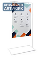 Minimalist white signage stand with customized graphics