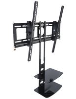 Tilting TV Bracket with Double-Tier Shelving for Cable Boxes