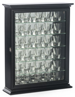 black shot glass cabinets