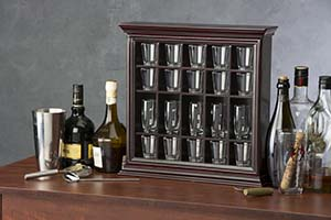 Shot glass casing for home bar use.
