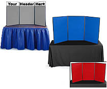 These portable show displays sit on a tabletop, and are great for small presenations.