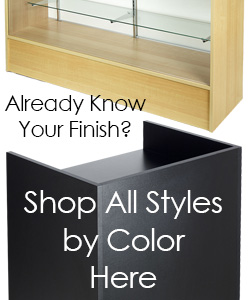 Checkout counters and display cases by finish color