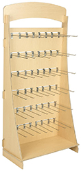 Wooden retail displays with metal slat wall hooks in varied sizes