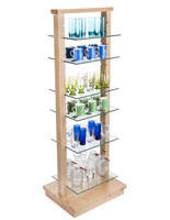 Wood Post Glass Shelf Gondola with Tempered Shelves