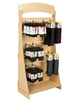 "Plywood Freestanding Slatwall Display with 12"" Chrome Hooks"
