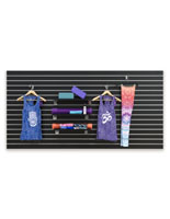 Hanging Clothes on Large Black Slat Board Display Panel